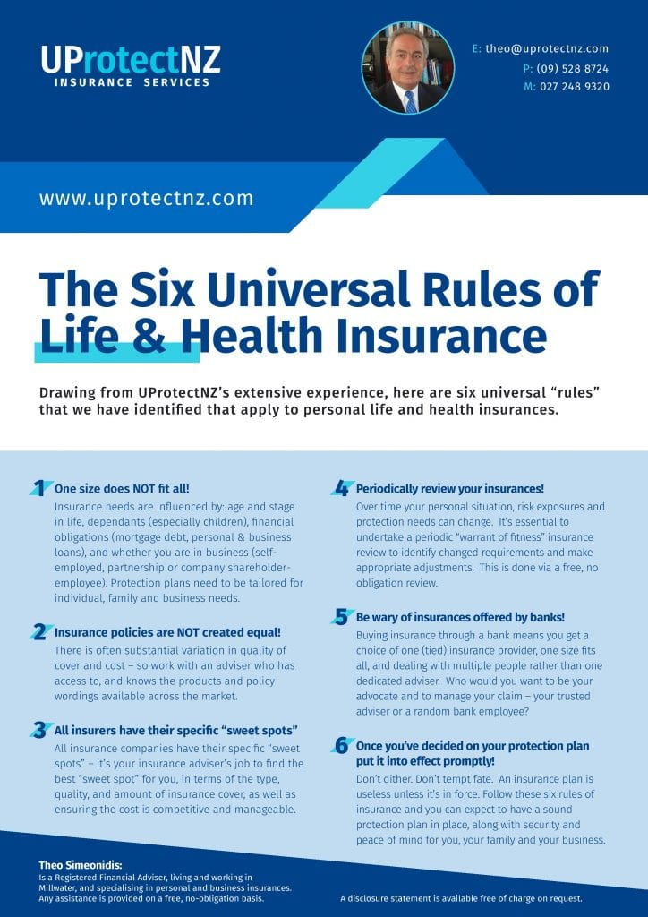 Follow these six rules of insurance to secure a sound protection plan to provide security and peace of mind for you, your family and your business.